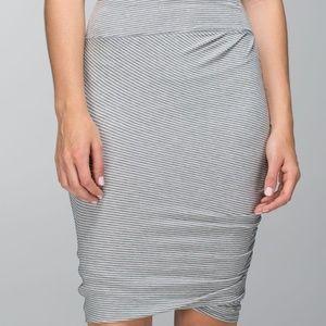 Lululemon Anytime Skirt Gray White Hyperstripe